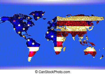 blu, astratto, map., americano, struttura, illustrato, bandiera, lines., mondo