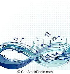 blu, astratto, note musica, fondo