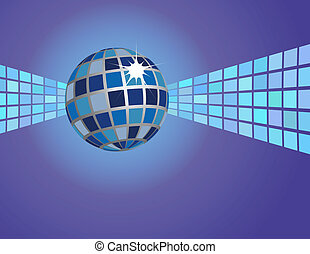 blu, astratto, palla, fondo, discoteca