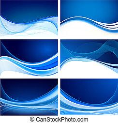 blu, astratto, set, fondo, vettore