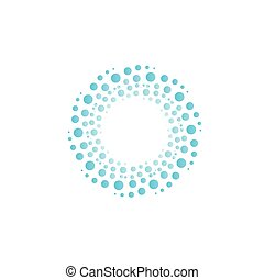 blu, astratto, vortice, acqua, cerchi, drops., vettore, bolle, cerchio, logo.