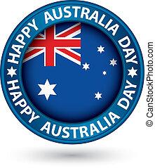 blu, australia, illustrazione, vettore, etichetta, giorno, felice