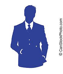 blu, avatar, ufficio, uomo