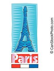 blu, backgound., clipart, colorito, parigi, eiffel, -, isolato, illustrazione, mano, disegnato, torre