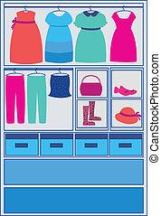 blu, bambino, vestire, scegliere