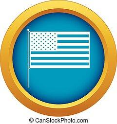 blu, bandiera, isolato, americano, vettore, icona