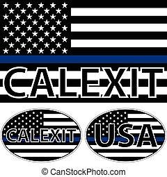 blu, bandiera usa, striscia, calexit