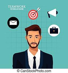 blu, barbuto, affari, lavoro squadra, fondo, completo, uomo