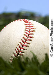 blu, baseball, erba, cielo