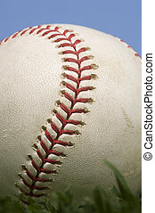 blu, baseball, erba, cielo, contro