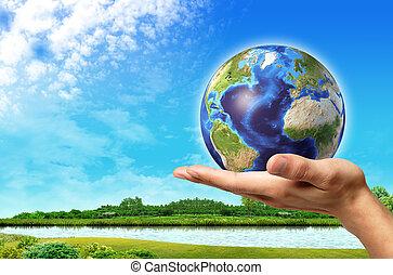 blu, bello, cielo, globo, esso, mano, fondo., terra verde, paesaggio fiume, uomo