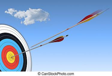 blu, bersaglio, portata, sopra, cielo, freccia, fondo, uno, possedere, altro, tiro con l'arco, azione, centro