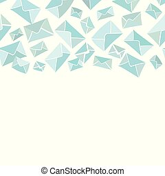 blu, bianco, envelope., bordo