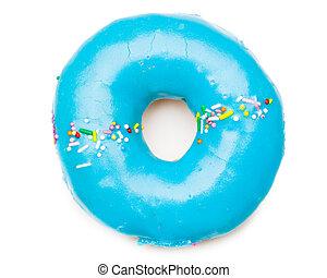 blu, bianco, saporito, isolato, donut