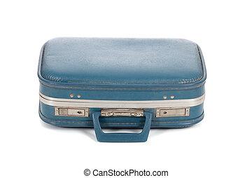 blu, bianco, vecchio, valigia