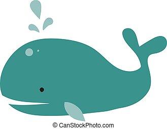 blu, bih, illustrazione, fondo., vettore, balena, bianco