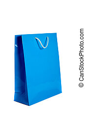 blu, borsa, bianco, shopping