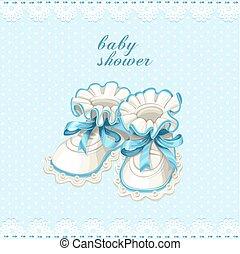 blu, bottini bambino, scheda, doccia