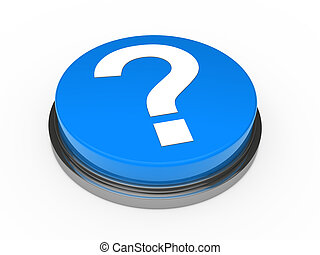 blu, bottone, 3d, punto interrogativo