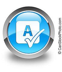 blu, bottone, controllo incantesimo, lucido, cyan, rotondo, icona
