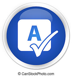 blu, bottone, incantesimo, rotondo, lucido, assegno, icona
