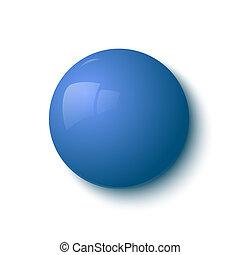 blu, bottone, lucido