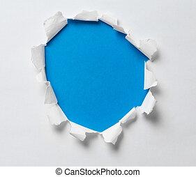 blu, buco, carta lacerata, fondo