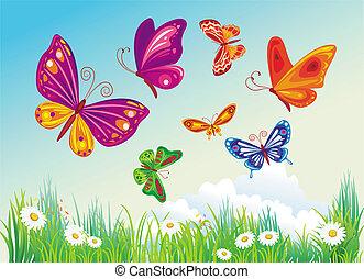 blu, butterfly's, fondo