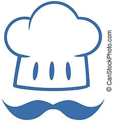 blu, cappello chef, baffi, logotipo