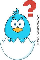 blu, carattere, carino, uccello, cartone animato