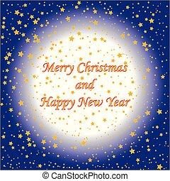 blu, card), (christmas, oro, testo, stelle, fondo