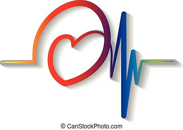 blu, cardiogramma, logotipo, vettore, rosso