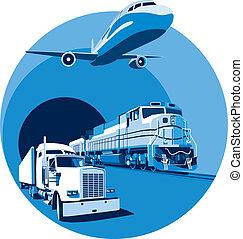 blu, carico, trasporto