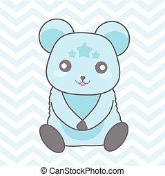 blu, carino, chevron, orso, doccia, illustrazione, fondo, bambino