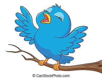 blu, carino, uccello canta, cartone animato