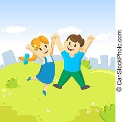 blu, cartone animato, loro, giovane, saltare, cielo, ragazza, bambini, ragazzo, gioia, aria, città, felice, fondo., mani