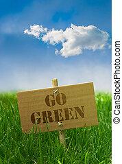 blu, cartone, testo, cielo, scritto, verde, asse, andare, erba, su di
