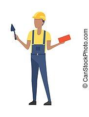 blu, casco, costruttore, cazzuola, brick., uniform.