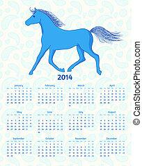 blu, cavallo, vettore, anno, 2014, calendario