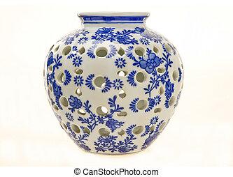 blu, ceramica, bianco, vaso