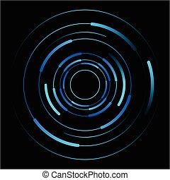 blu, cerchi, astratto, vettore