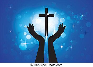blu, cerchi, concetto, cristiano, fedele, santo, gesù, -, croce, fondo, figlio, persona, grafico, vettore, devoto, stelle, pregare, worshiping, o, lord(christ)