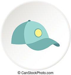 blu, cerchio, berretto, baseball, icona