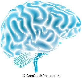 blu, cervello, ardendo, concetto