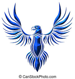 blu, chromed, falco, illustrazione