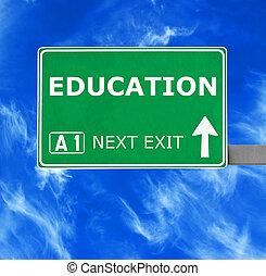 blu, cielo chiaro, contro, segno, educazione, strada