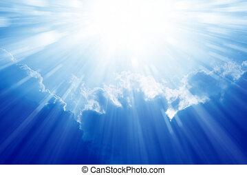 blu, cielo luminoso, sole