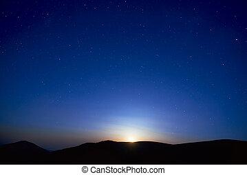 blu, cielo scuro, stelle, notte