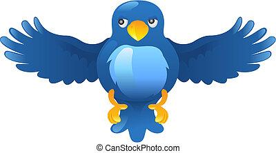 blu, cinguettio, ing, uccello, icona