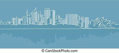 blu, città, astratto, background..eps